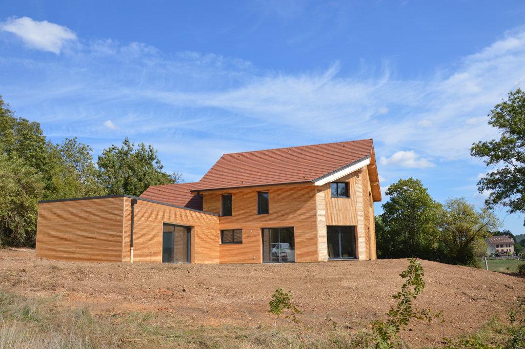 Maison ossature bois, piscine couverte, toiture terrasse, bardage naturel, Fleurey sur Ouche