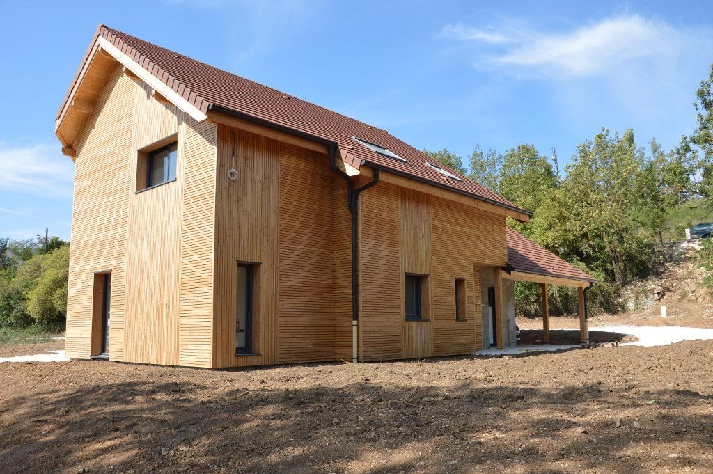 Maison ossature bois bardage vertical et horizontal, auvent bois, Fleurey sur Ouche