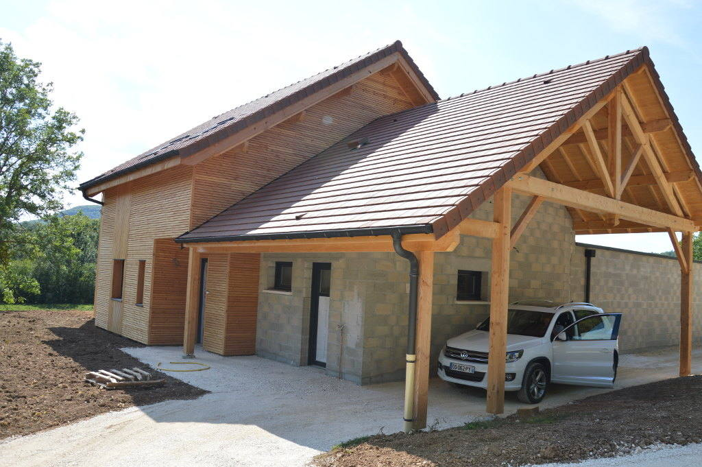Carport toit plat bac acier top toiture en zinc sur for Toit terrasse garage
