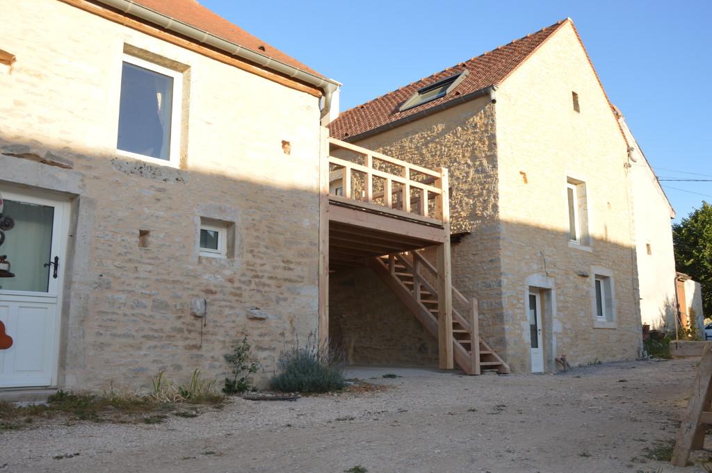 Terrasse douglas et pin traité autoclave, et restauration de charpente