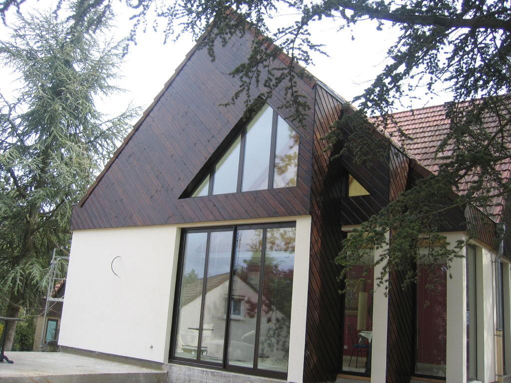 Construction bois, bardage et enduit, maison d'Architecte